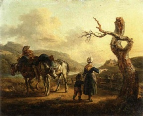 auguste-xavier-leprince-a-traveller-on-horseback-conversing-with-a-mother-and-child-on-a-path