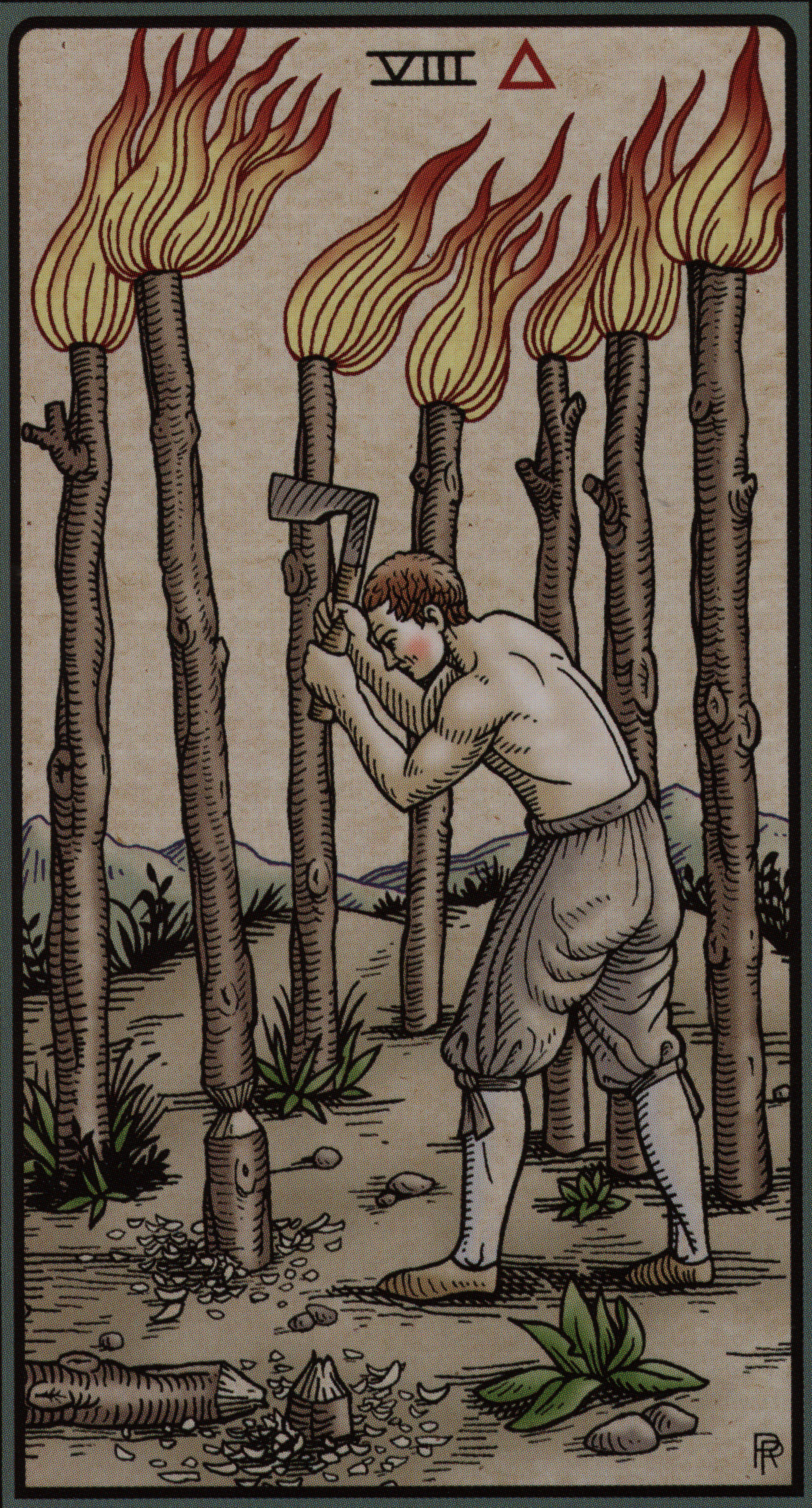 Alchemical Tarot: The Eight of Staffs